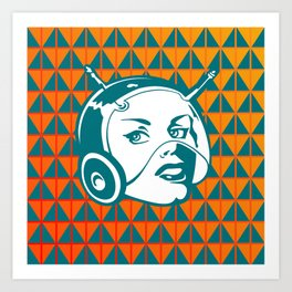 Faces: SciFi lady on a teal and orange pattern background Art Print