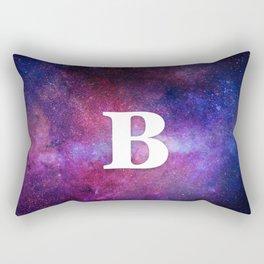 Monogrammed Logo Letter B Initial Space Blue Violet Nebulaes Rectangular Pillow