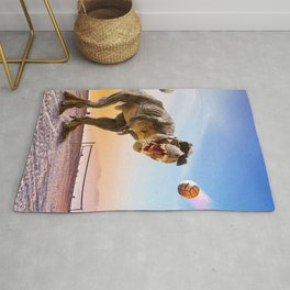 Funny T-Rex Dinosaur Playing Volleyball Rug