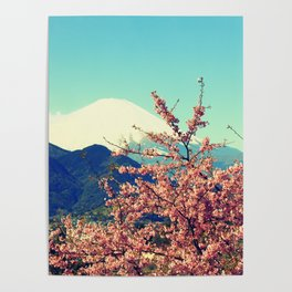 Mountains & Flowers Landscape Poster