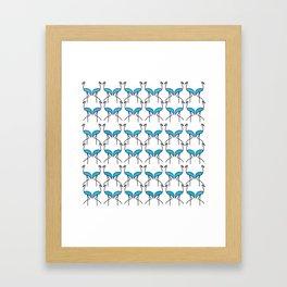 Coastal Pattern Blue Flamingos Framed Art Print