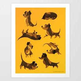 CARTOON DACHSHUND DOG Art Print