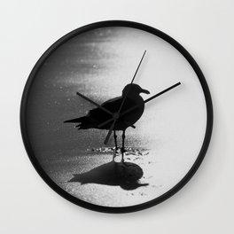 Lone Bird on Beach At Midnight Wall Clock
