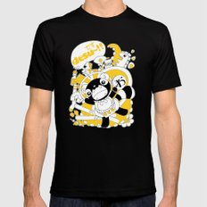 Desu~!!: Yellow Mens Fitted Tee Black MEDIUM