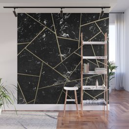 Black Marble Gold Geometric Glam #1 #geo #decor #art #society6 Wall Mural