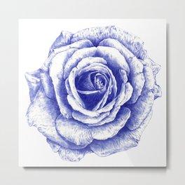 Ballpoint Blue Rose Metal Print