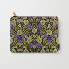Flower Pattern - Purple, Green & Pale Yellow Carry-All Pouch