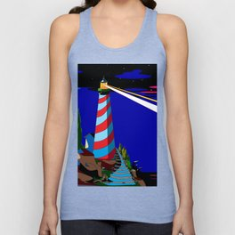 A Night at the Lighthouse with Search Light Active Unisex Tank Top