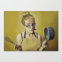 clueless Canvas Prints featuring Kitchen Clueless by Kerri Illustration