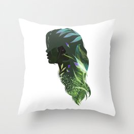 Face silhouette floral light green Throw Pillow