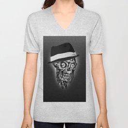 Elegant Skull with hat, B&W Unisex V-Neck