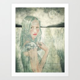 Girl at Dusk Art Print