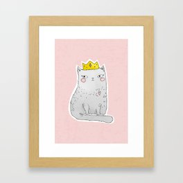 Cute cat with crown pink background Framed Art Print