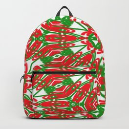 Red, Green and White Kaleidoscope 3376 Backpack