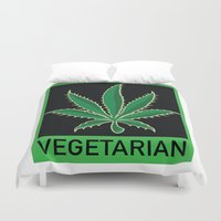 vegetarian Duvet Covers featuring Vegetarian Marijuana Leaf by BudProducts.us