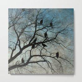 American Bald Eagles Roost Silhouette  Metal Print