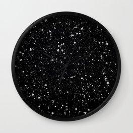 Glitter Stars2 - Silver Black Wall Clock