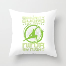 Security Guard Ninja By Night Sentinel Lookout Watchman Watcher Spotter Scout Patroller Gift Throw Pillow