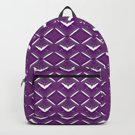 Purple diamonds of white stars with hearts in a bright intersection. Backpack