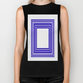 Blue and White Lines Geometric Abstract Pattern Biker Tank