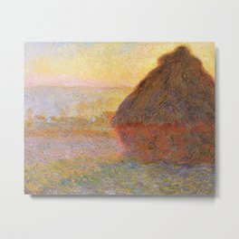 Haystacks, Sunset (1891) by Claude Monet Metal Print
