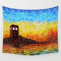 221b Wall Tapestries featuring Tardis at the twilight zone iPhone 4 4s 5 5c 6, pillow case, mugs and tshirt by Three Second