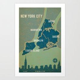 NYC Boroughs in Navy Blue Art Print