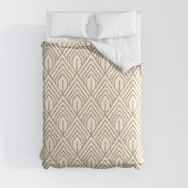 Modern White and Gold Geometric Abstract Pattern Comforters