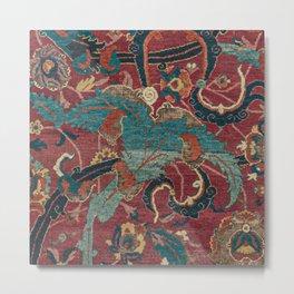 Flowery Arabic Rug I // 17th Century Colorful Plum Red Light Teal Sapphire Navy Blue Ornate Pattern Metal Print