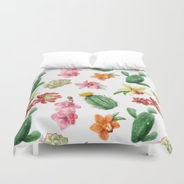 Watercolor Cacti Pattern Duvet Cover