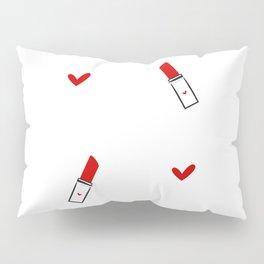 cute hand drawn red lipsticks Pillow Sham