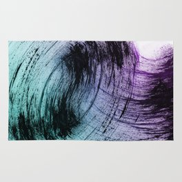 Wide Sweeping Black Brushstrokes with Aqua and Purple Rug