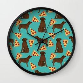 chocolate lab pizza cute funny dog breed pet pattern labrador retriever Wall Clock