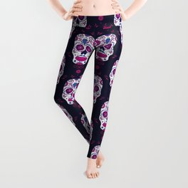 Sugar skull pattern. Mexican Day of the dead graphic. Leggings