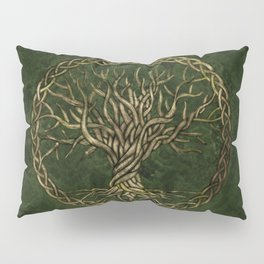 Tree of life -Yggdrasil -green and gold Pillow Sham