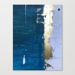 Rain [1]: a minimal, abstract mixed-media piece in blues, white, and gold by Alyssa Hamilton Art Canvas Print