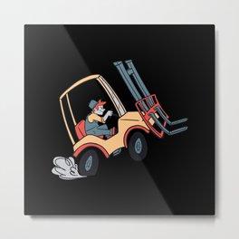 Forklift truck funny cartoon forklift truck worker Metal Print