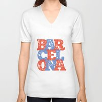 barcelona V-neck T-shirts featuring Barcelona by White Feathers Designs
