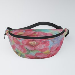 Quince blossom Red flowers Floral nature painting Impressionistic Oil sketch Fanny Pack