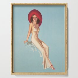 poster pin up chapeau affiche Serving Tray