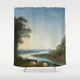 Capriccio View of the River Volturno with Monte Epomeo beyond by Jakob Philipp Hackert. Shower Curtain