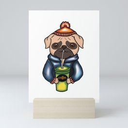 Pug Sipping On An Iced Latte Coffee print Mini Art Print