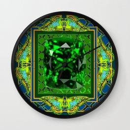 DECORATIVE  GREEN EMERALD GEM & BUTTERFLY ART DESIGN Wall Clock
