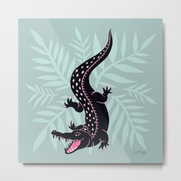 Crocodile – Mint Metal Print