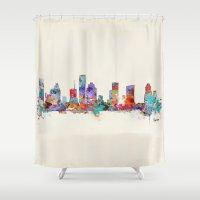 houston Shower Curtains featuring houston texas skyline by bri.buckley