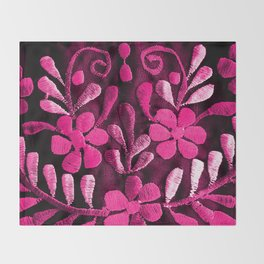 Hot Pink Mexican Flowers Throw Blanket