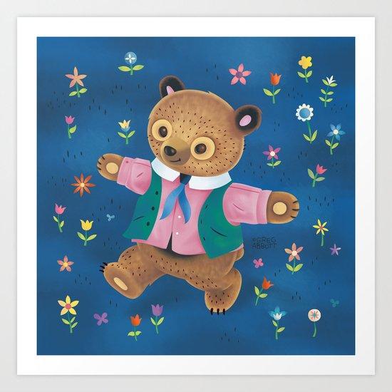 Little Bear and the Flower Garden Art Print