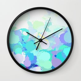 Blue watercolor abstract splatter Wall Clock