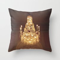 chandelier Throw Pillows featuring chandelier by oanauciuf