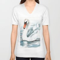 swan queen V-neck T-shirts featuring Swan by rchaem
